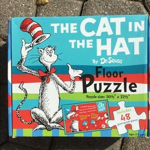 The Cat And The Hat Dr. Seuss Floor Puzzle With 48 Pieces Included.
